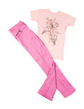 Pink pants and t-shirt. Shiny pink pants and romantic t-shirt isolated on white background. Clipping path included Stock Photos