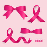 Shiny pink ribbon. Vector illustration Stock Photos