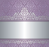 Shiny Pink & silver renaissance pattern vintage invitaton background Royalty Free Stock Photography