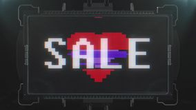 Shiny pixel heart beat and sale on digital tv screen seamless loop glitch interference animation new dynamic holiday. Digital screen seamless loop glitch stock footage
