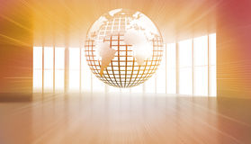 Shiny planet floating in orange room Stock Photo