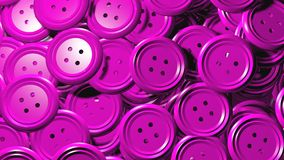 Shiny plastic pink clothe buttons. A lot of clothes buttons in pink color all in one group, 3d graphic generated Royalty Free Stock Images