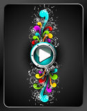 Shiny play button. Vector shiny play button with colorfull grunge floral elements on a dark background Royalty Free Stock Images
