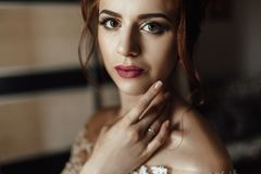 Beautiful brunette stylish bride getting ready in the morning in. Shiny portrait of beautiful bride standing before the window Stock Photos