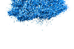 Shiny powder deep blue object. Abstract shape glitter sparkle on white background (center focus and soft blur edge Stock Photography