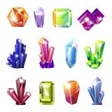 Shiny precious natural crystals of all shapes set stock illustration