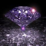 Shiny Purple Diamond. 3 D render of shiny diamond Stock Photos