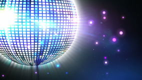 Shiny purple disco ball spinning around Stock Photo