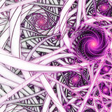 Shiny purple fractal spirals Stock Image