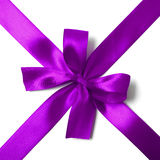 Shiny purple satin ribbon on white background Stock Images