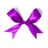 Shiny purple satin ribbon on white background Royalty Free Stock Images