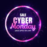 Shiny purple text Cyber Monday Sale with 75% discount offer on b. Lack background. Advertisement concept template or flyer design royalty free illustration