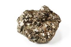 Shiny pyrite. Beautiful shiny galenite on white isolated background Royalty Free Stock Image