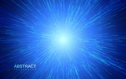 Shiny radial burst with linear particles. Vector absrtact illustration. Blue background with explosion. Shiny light rays. Flashing beams stock illustration