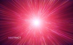 Shiny radial burst with linear particles. Vector absrtact illustration of Big Bang. Background with dispersion of light. Shiny light rays. Flashing beams. Warp stock illustration