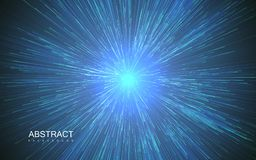 Shiny radial burst with linear particles. Vector absrtact illustration of Big Bang. Background with dispersion of light. Shiny light rays. Flashing beams. Warp royalty free illustration