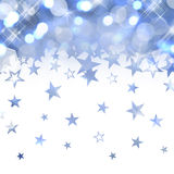 Shiny rain of pastel blue stars Stock Photo