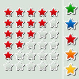 Shiny rating stars - five various color Royalty Free Stock Photos