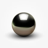 Shiny realistic black pearl on white background. Vector illustration Royalty Free Stock Images