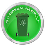 Shiny recycling button Royalty Free Stock Images