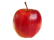 Shiny red apple on white. Royalty Free Stock Images