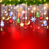 Shiny red background with Christmas decoration Royalty Free Stock Image