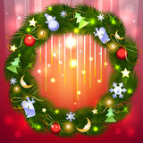 Shiny red background with Christmas fir garland Stock Photo