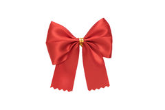 Shiny red bow on white background Stock Photos