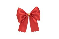 Shiny red bow on white background Stock Photos