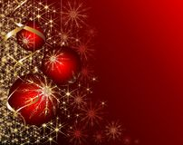 Shiny red christmas background. Bright red Christmas balls on the shining background Royalty Free Stock Photography