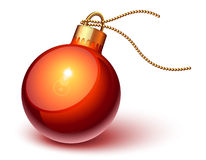 Shiny red christmas ornament. Over white vector illustration