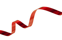 Shiny red Christmas tape spiral, isolated Royalty Free Stock Photography