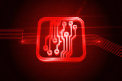 Shiny red circuit board Stock Photo