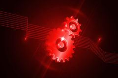 Shiny red cogs. Kind of amazing shiny red cogs on black background Royalty Free Stock Photo