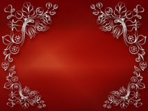 Shiny red decorative. Background with flourishes design vector illustration