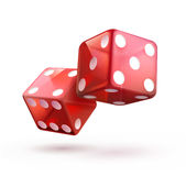 Shiny red dices. Vector illustration of shiny red dices on the white  background Stock Images