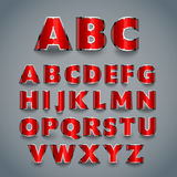 Shiny red font. alphabet design. Royalty Free Stock Image