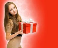 Shiny red gift. Royalty Free Stock Photo