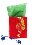 Shiny Red Gift Bag With Ribbons Royalty Free Stock Images
