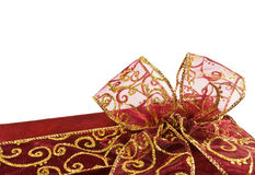Shiny red gift box bow Stock Image