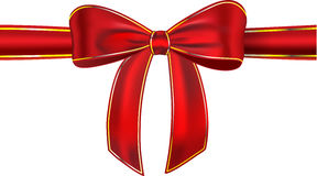 Shiny red gift ribbon with bow. Red satin ribbon with bow isolated on white background. Gift. Vector illustration stock illustration