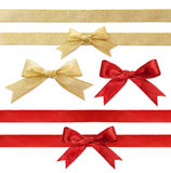 Shiny red and Gold satin ribbon on white Stock Photos