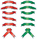 Shiny red and green banners set Stock Image