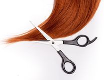 Shiny red hair and hair cutting shears Stock Photography