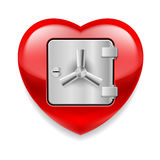 Shiny red heart as a safe Royalty Free Stock Images