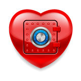 Shiny red heart as a safe Royalty Free Stock Photos