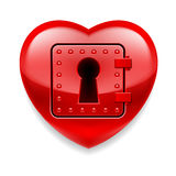 Shiny red heart as a safe Stock Image