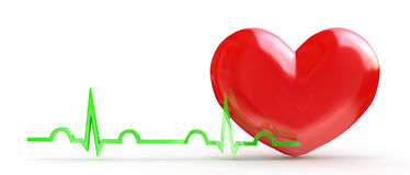 Shiny red heart with cardiogram  on white Royalty Free Stock Photos