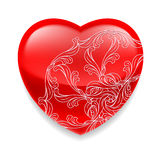 Shiny red heart with decor Stock Images