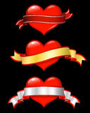 Shiny red hearts with scrolls Stock Photo